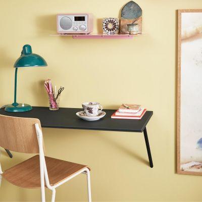 CANVAS - Wandmontierter Schreibtisch aus MDF mit dunkelgrauem Linoleum